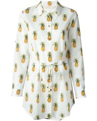 Tory Burch Belted Pineapple Print Shirt - Lyst