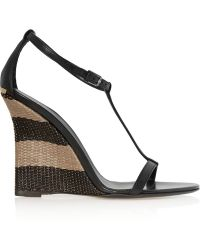 Burberry Leather And Raffia Wedge Sandals - Lyst