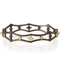 Armenta - Old World Midnight Pointed Bangle With Blue Turquoise - Lyst