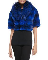 Michael Kors Mink/Fox Fur Cropped Jacket - Lyst