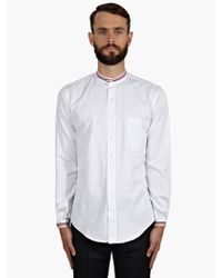 Thom Browne Mens White Cotton Striped Trim Shirt - Lyst