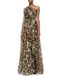 Badgley Mischka Collection One Shoulder Leopard Print Gown - Lyst