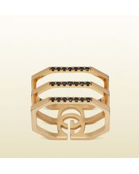 Gucci Gold Running G Ring with Black Diamonds - Lyst