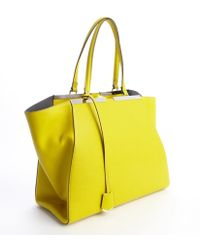 Fendi Citron Leather 3jours Engraved Logo Plate Tote - Lyst