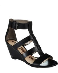 Sam Edelman Sabrina Leather Wedge Sandals - Lyst