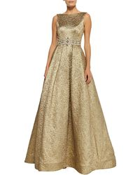 Theia Sleeveless Beaded-waist Ball Gown - Lyst