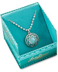 Lucky Brand Silver Tone Turquoise Stone Pendant Necklace - Lyst