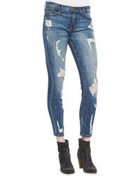 Current/Elliott Stiletto Jodie Shredded Denim Jeans - Lyst