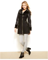 Guess Mixed Media Faux Fur Walker Coat - Lyst