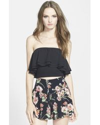 Leith Ruffled Chiffon Tube Top - Lyst