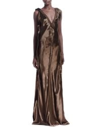 Lanvin Silk Raw-Edge Seamed Sleeveless Gown - Lyst
