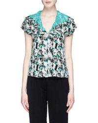 Prabal Gurung Mineral Print Crepe De Chine Layer Top multicolor - Lyst