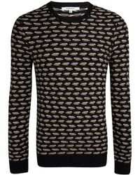 Carven Black Crew Neck Micro Pattern Jumper - Lyst