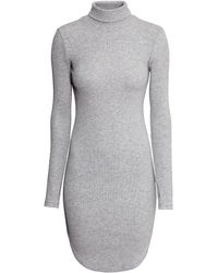 H&M Ribbed Polo-Neck Dress - Lyst