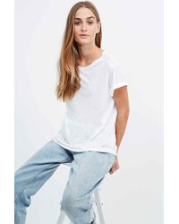 BDG - Lounge Roll Sleeve Tee In White - Lyst