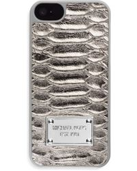 Michael Kors Lydia Python Pattern-embossed Leather Phone Case - Lyst