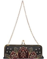 Christian Louboutin Black And Rouge Satin And Velvet 'Miss Loubi Sombrero' Clutch - Lyst