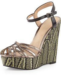 Pelle Moda Odell Metallic Wedge Sandal - Lyst
