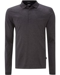 Hugo Boss Single Tipped Collar Long Sleeve Polo Shirt - Lyst