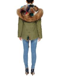 Mr & Mrs Italy - Army Patch Fox Fur Lined Mini Parka - Lyst