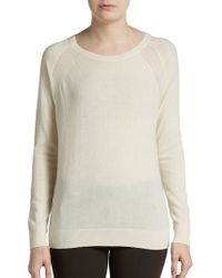 Vince Cashmere Sheer-Paneled Raglan-Sleeved Sweater - Lyst