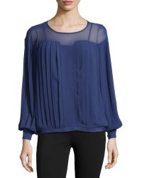 Catherine Malandrino Georgette Pleated Long-Sleeve Top - Lyst
