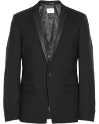 Sandro Slim-fit Leather-trimmed Wool-twill Tuxedo Jacket - Lyst