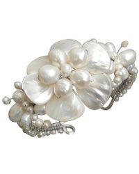 Aeravida - Fabulous Handmade White Shell Flower & Pearl Beaded Cuff - Lyst