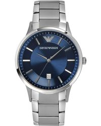 Emporio Armani Stainless Steel Bracelet Watch with Blue Dial - Lyst