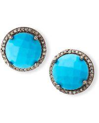 Margo Morrison - Faceted Turquoise & Diamond Earrings - Lyst