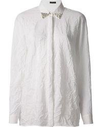 Versace Wrinkled Embellished Shirt - Lyst
