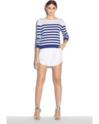 Milly Zip Stripe Sweater blue - Lyst