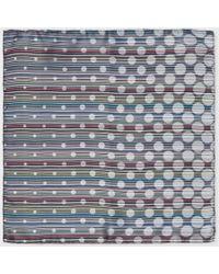 Paul Smith Grey Signature Stripe Polka Dot Silk Pocket Square - Lyst
