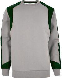 River Island | Grey Lou Dalton Faux Suede Panel Sweatshirt | Lyst