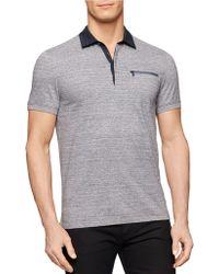 Calvin Klein Pima Woven-Collar Polo gray - Lyst