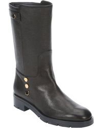 Tod's Black Leather Detail Back Strap Boots - Lyst