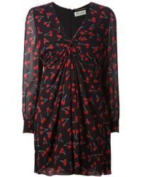 Saint Laurent Gathered Cherry-Print Dress - Lyst