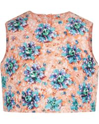 Mary Katrantzou Cropped Printed Satingabardine Top - Lyst