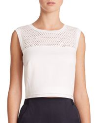 Rebecca Taylor Perforated Poplin Crop Top blue - Lyst
