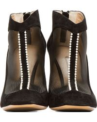 Nicholas Kirkwood Black Suede and Pearl Boots - Lyst