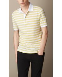 Burberry Striped Cotton Jersey Polo Shirt - Lyst