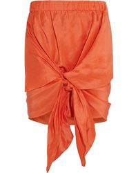 Acne Studios Ines Linen And Silk-Blend Shantung Skirt - Lyst