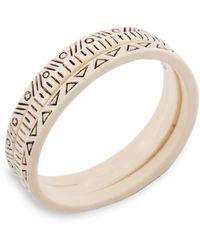 Lucky Brand Engraved White Bangle Bracelet Set - 3 - Lyst
