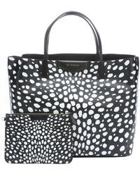 Givenchy Black and White Coated Canvas Antigona Spotted Tote - Lyst