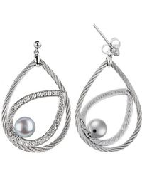 Charriol Classique 18K White Gold And Stainless Steel With Grey Pearls 0.23Tcw Dangling Earrings - Lyst