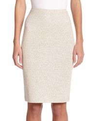 St. John Shimmer Twill Pencil Skirt - Lyst