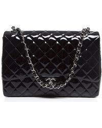 Chanel Pre-Owned Black Patent Leather Maxi Single Flap Bag - Lyst