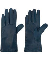 Portolano Small Blue Basic Leather Gloves blue - Lyst