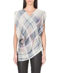 Vivienne Westwood Anglomania Faded Tartan Print Blouse Grey Faded Tartan - Lyst