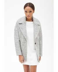 Forever 21 Wool-Blend Boucle Coat - Lyst